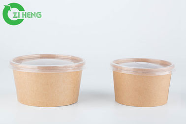 Food grade biodegradable custom logo printed kraft paper recyclable 16oz soup bowls with lids